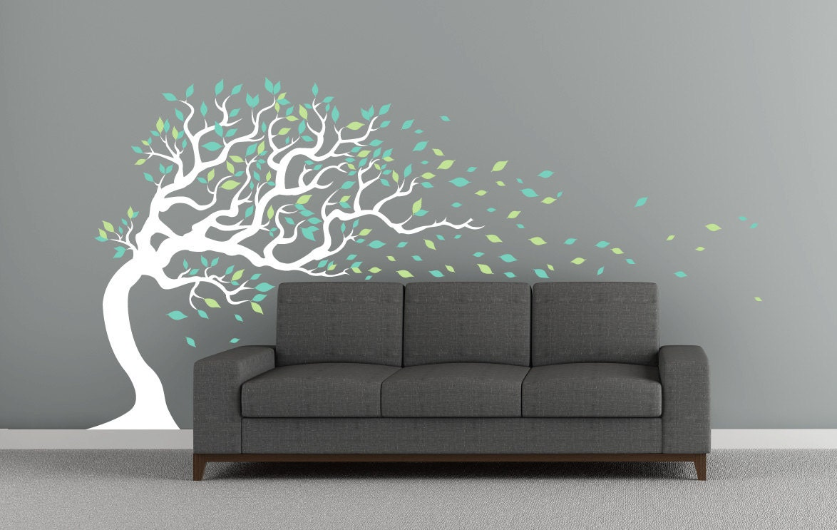 windy tree decal | etsy