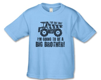 Big Brother to be Shirt - Boys Dump Truck  Big Brother T-Shirt (distressed graphic / black ink)  Pregnancy Announcement Shirt