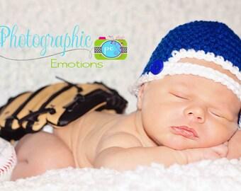Crochet Baseball Hat - Atlanta Braves Newborn Baseball Cap - Sports Hat - Baby Photo Prop - You Pick the Colors - Newborn to 3 months