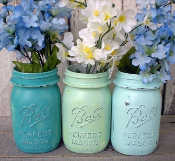 Beach Wedding Ideas Mason Jars: 3 Mason Jars Blues Beach Wedding Turquoise By Bigredbarnbam