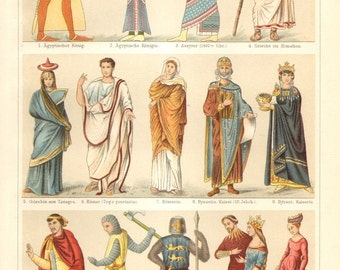 1904 Ancient and Medieval Costumes, Egyptian, Assyrian, Greek, Roman, Byzantine and Frankish Noble Wear Original Antique Chromolithograph