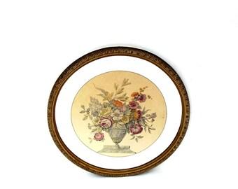 Antique Lithograph Botanical Set of 2 Framed Art Pair Round Gesso Frames Mirror Mat 1930s Floral Still Life