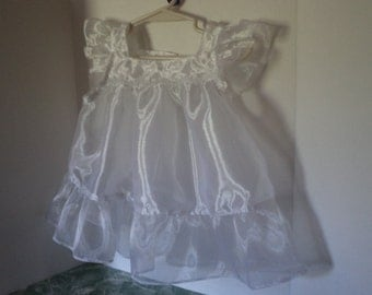 Infant Size, Sheer White Organza, Pinafore, Apron, Holiday Apron, Christmas, Sample Sale