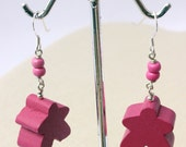 Meeple Earrings Pink and Silver