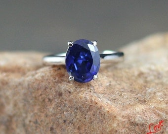 Blue Sapphire Solitaire Oval Engagement Ring 3.5ct 10x8mm 14k 18k White Yellow Rose Gold Platinum Custom made Wedding Anniversary Cathedral