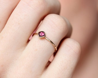 Gold garnet ring, rose cut, rhodolite garnet, stacking ring, january birthstone, Valentines jewelry, gift, thin gold ring, size 9.25 - 13