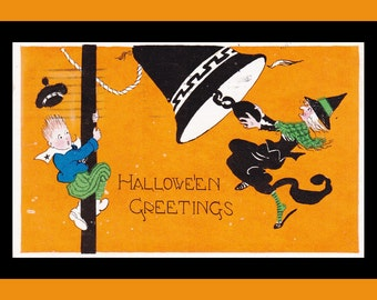 Halloween Greetings- 1920s Antique Postcard- Wicked Witch- Frightened Boy- Orange Black- Gibson Art Card- 20s Decor- Paper Ephemera- Used
