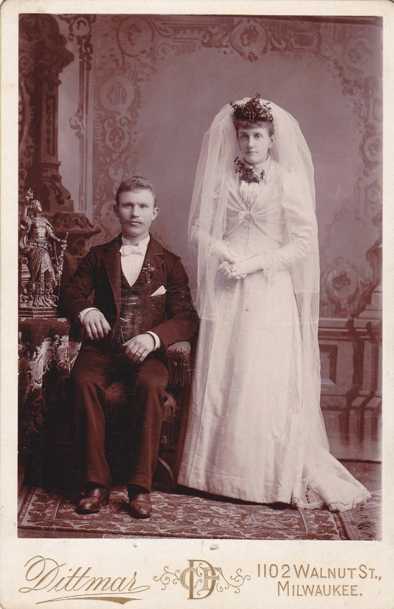 Victorian Couple On Their Wedding Day Bride And Groom 1800s