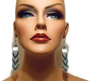 Green Earrings, Chevron Earrings, Long Earrings, Seed Bead Earrings, Fringe Earrings, Dangle Earrings, Shoulder Dusters, Beaded Earrings