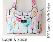 Designer Handbag Pattern PDF for sewing your own Purse. Sugar and Spice by ChrisW Designs