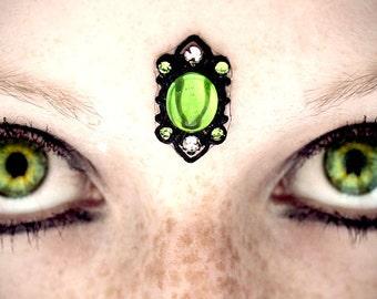 Envy Green Bindi, gothic, gypsy, tribal fusion, fairy, fantasy, wicca, third eye, pagan, absinthe, dark fusion, bellydance, costume, fae