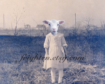 Creepy Cute Lamb Art Anthropomorphic Animal in Clothes 5x7 Inch Collage Print, Weird Wall Decor, Small Wall Art