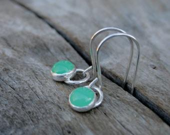6mm Petite Bright Apple Green Chrysoprase and Sterling Silver Bezel Set Dangle Earrings.