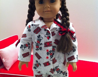 """American Made 18 Inch Girl Doll Clothes-Mickey Mouse™ Flannel Pajamas Will Fit Robert Tonner's """"My Imagination""""™ and Similar"""