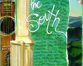 Southern Gifts, Southern Art, Mixed Media Art ,Limited Edition Art Print, Wall Art THE SOUTH  Southern States  by  Seattle Artist Mary Klump