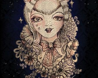 "Forest Cat - 8"" x 10"" Original Art Print"