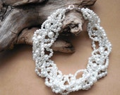 Multi strand pearl necklace, Statement pearl necklace, Chunky white pearl necklace, Bridal necklace, wedding, twisted, woven, edgy, elegant