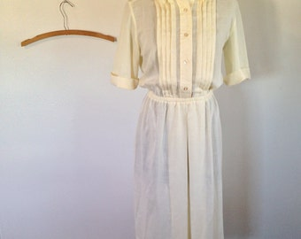 Pleated Front Semi Sheer Pale Yellow 70s Day Dress