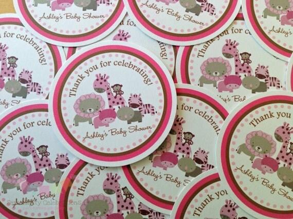Set of 12 personalized favor tags pink safari jungle safari safari il570xn negle Image collections