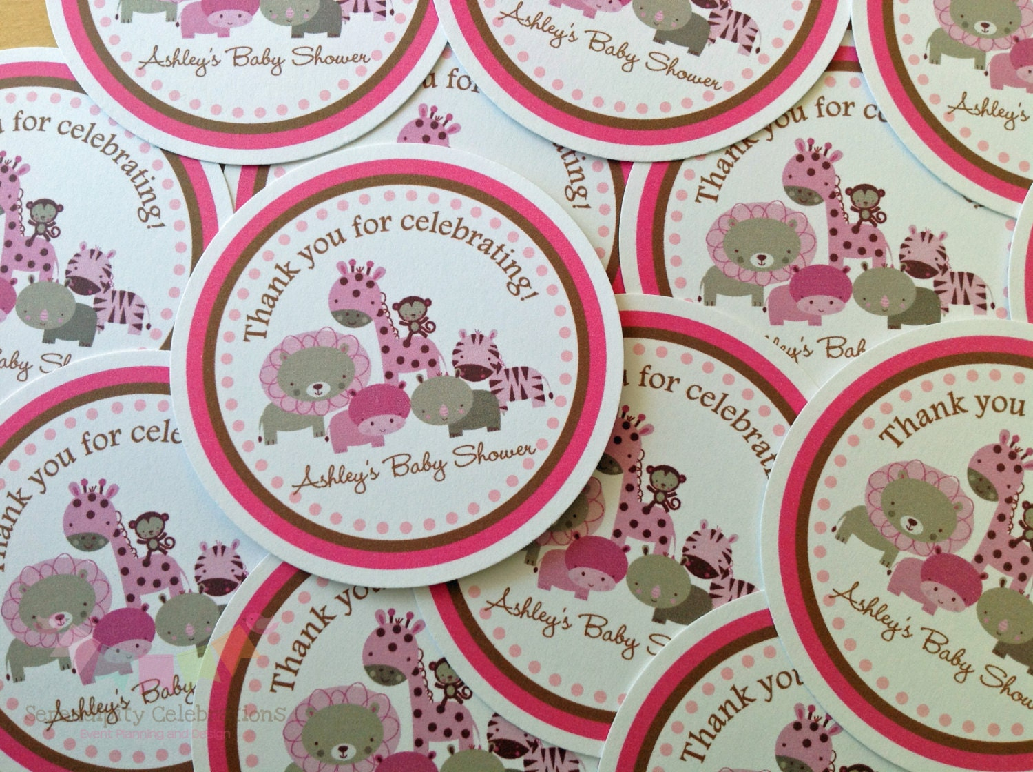 Set of 12 personalized favor tags pink safari jungle - Baby shower favor tags ...