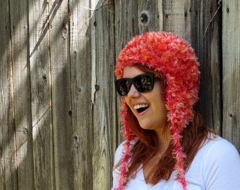 Furry Ear Flap Hat, Orange & Pink (crochet fur hat with ear flaps)