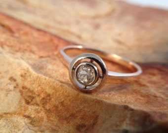 Antique Russian 14K Rose Gold and 14K White Gold Diamond Ring Great Condition