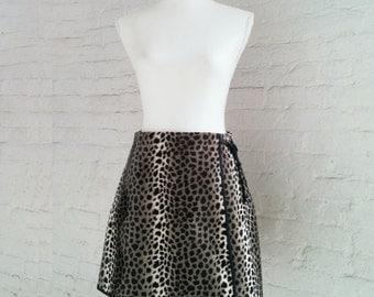 Leopard Fake Fur Mini Skirt 90s Vintage Faux Fur Black Brown Spot Animal Print Pencil Skirt Grunge Goth Clueless Club Kid Medium Wrap Skirt