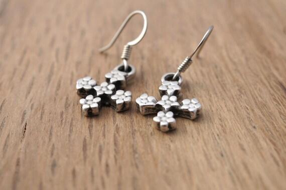 TINY CROSS EARRINGS, Cross Flower Earrings, Silver Cross Earrings, Back to School Cross Earrings, First Communion Gift Cross Earrings