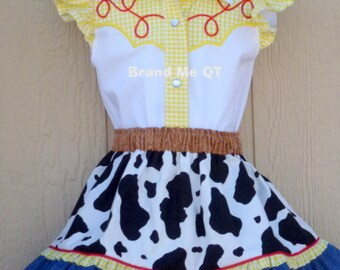DELUXE  Jessie inspired skirt AND blouse outfit. Toy Story. Cowgirl  Birthday Party
