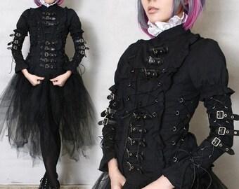 Industrial Steampunk Leather Strap EGL Elagent Gothic Lolita Aristocra Punk Armor Corset