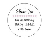 "CUSTOM 2"" Shower Labels - Customizable -Personalized - Favor -KRAFT or WHITE -Brown Bag-  Kraft round/circle seals/Stickers/labels"