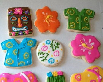Luau Cookies - luau party -Hawaiian Party- beach party - tropical party - decorated cookies - sugar cookies - cookie favors - luau birthday