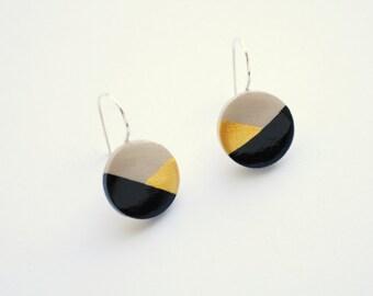 Gold and black geometrical earrings