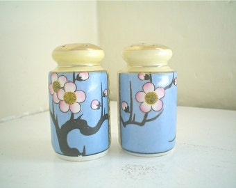 Vintage Salt and Pepper with Plum Blossom Design Made in Japan