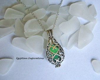 Sea glass locket necklace. Green  teardrop locket. Sea glass jewelry.