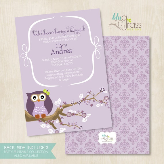 Custom Birthday Party Invitation, Baby Shower Invitation by BluGrass Designs - Owl (more color choices)