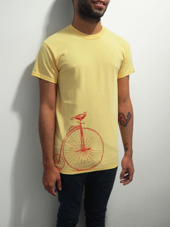 Mens vintage bicycle shirt screen printed by samsaraprints for Vintage screen print t shirts