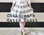 """Children's Striped Katie Skirt 25"""" waist and smaller  red , yellow, navy, grey, black or green Custom made"""