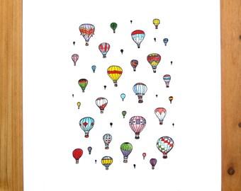 Hot Air Balloon Print 8.5 x 11