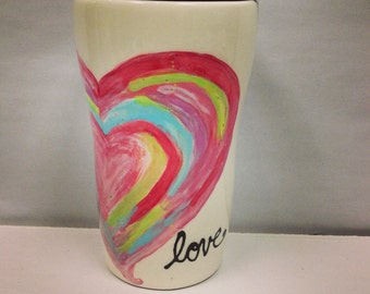 Love Travel Mug with water color romance