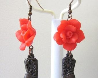 Cowboy Boot Earrings Western Red Rose