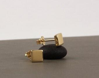 Square stud earrings, solid gold stud earrings, 14k gold minimalist earrings