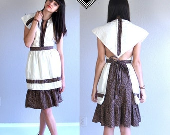 vtg 70s cream, brown OPEN BACK apron Prairie DRESS hippie xs boho calico festival sun