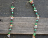 """Green turquoise, orange coral with orange clear and green carnelian necklace with copper chain 18"""""""