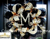 Black and Leopard Monogram Mesh Wreath
