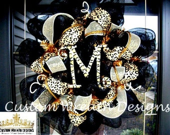 Monogram Mesh Wreath, wreath, wreaths, deco mesh wreath, deco mesh wreaths, front door wreaths, year round wreath, leopard decor