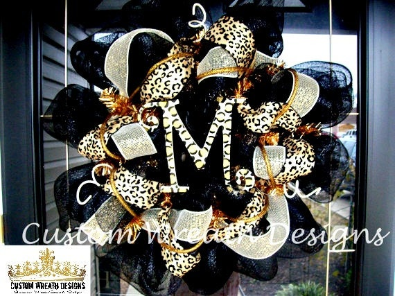 Black and Leopard Monogram Mesh Wreath