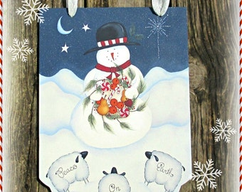 E PATTERN - Peace on Earth - Sweet Snowman and Sheep - Nice for all Winter - Inspired by Terrye French & Painted by Sharon Bond - FAAP