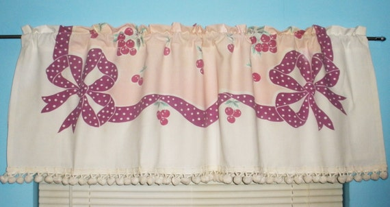 Kitchen curtain valance 1940 s tablecloth cherries bows and
