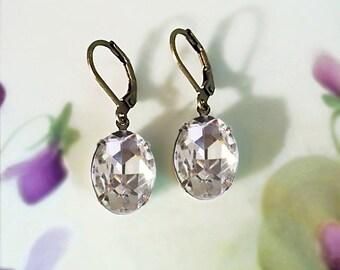 Crystal Rhinestone Earrings Vintage 50's Crystal Ice Rhinestone Jewels April Birthstone Gift Idea Wedding Bridesmaids Earrings Prom